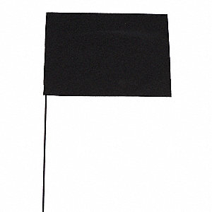 "Black Marking Flag, 4"" Flag Height, Solid Pattern, Blank"