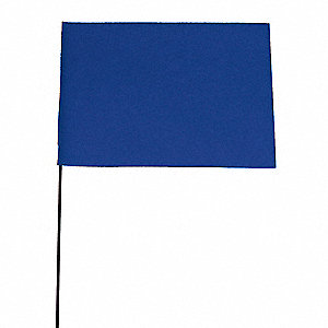 "Blue Marking Flag, 4"" Flag Height, Solid Pattern, Blank"