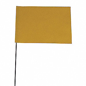 "Yellow Marking Flag, 4"" Flag Height, Solid Pattern, Blank"