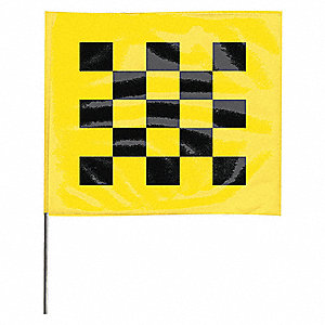 "Checkered Black On Yellow Marking Flag, 4"" Flag Height, Checkered Pattern, Blank"