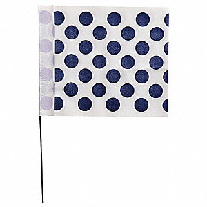 "Blue Polka Dots On White Marking Flag, 4"" Flag Height, Polka Dots Pattern, Blank"