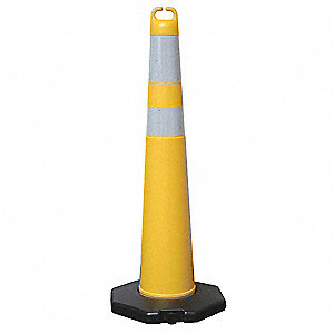 "Traffic Cone, 42"" Cone Height, Yellow, Polyethylene"