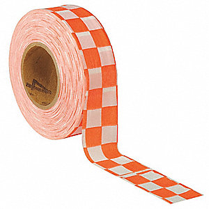 Flagging Tape,Wh/Orng,300 ft x 1-3/8 In