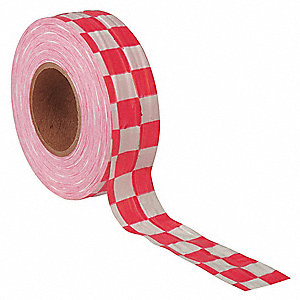 "Flagging Tape, White/Red, 1-3/8"" x 300 ft., Checkered"