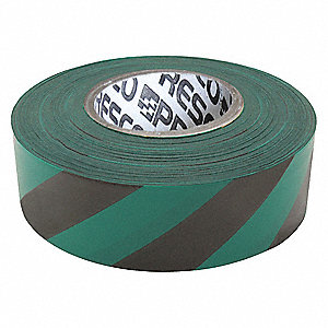"Flagging Tape, Green/Black, 1-3/8"" x 300 ft., Diagonal Stripes"