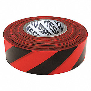 "Flagging Tape, Red/Black, 1-3/8"" x 300 ft., Diagonal Stripes"