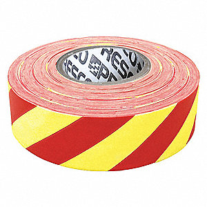 "Flagging Tape, White/Red, 1-3/8"" x 300 ft., Diagonal Stripes"