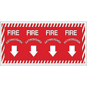 Fire Extinguisher Sign,14 x 28In,YEL/R
