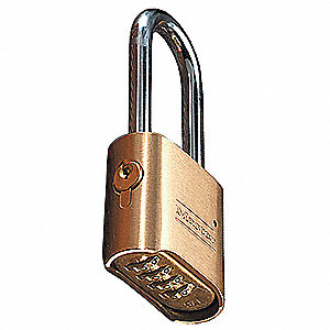"Combination Padlock, Resettable Bottom-Dial Location, 2-1/4"" Shackle Height"