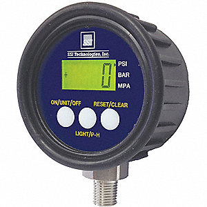 "0 to 1000 psi Digital Pressure Gauge, 2-1/2"" Dial, 1/4"" MNPT Connection, Plastic"
