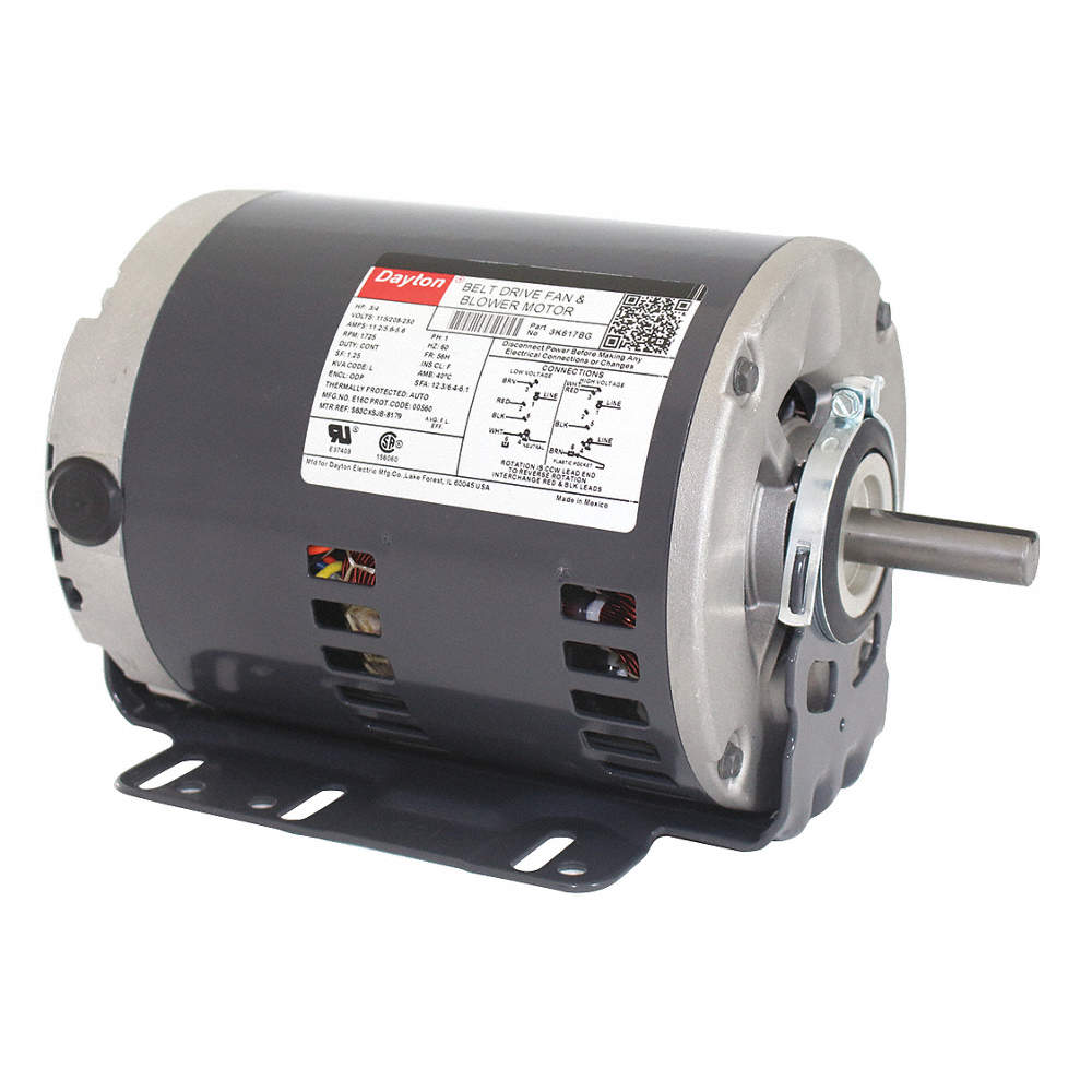 3/4 HP Belt Drive Motor, Split-Phase, 1725 Nameplate RPM, 115/208-230 Dayton Split Phase Electric Motor Wiring Diagram on