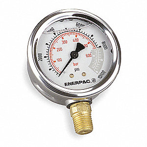 "Pressure Gauge, Liquid Filled Gauge Type, 0 to 10,000 psi Range, 4"" Dial Size"