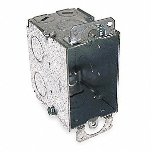"Electrical Box, Galvanized Zinc, 2-3/4"" Nominal Depth, 2"" Nominal Width, 3"" Nominal Length"