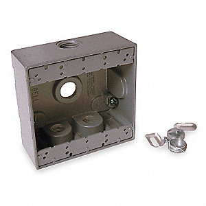 Weatherproof Electrical Box, 2-Gang, 4-Inlet, Aluminum