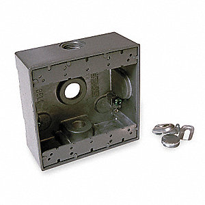 Weatherproof Box,2Gang,3Inlet,Alum