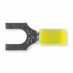 Fork Terminal, Yellow Nylon, Overlapped Seam, 12 to 10 AWG, 50 PK