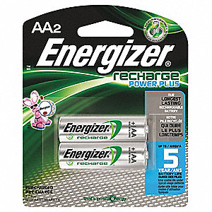 AA Pre-Charged Rechargeable Battery, Recharge, Nickel-Metal Hydride, PK2