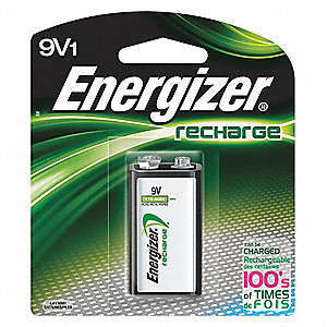 9V Pre-Charged Rechargeable Battery, Recharge, Nickel-Metal Hydride, PK1