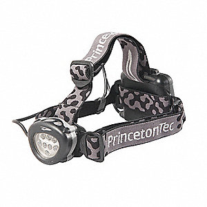 LED Headlamp, Plastic, 10,000 hr. Lamp Life, Maximum Lumens Output: 90, Green