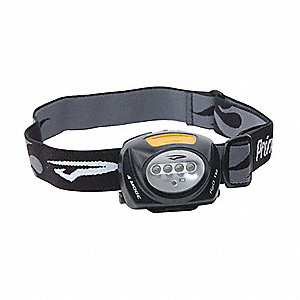 LED Headlamp, Plastic, 10,000 hr. Lamp Life, Maximum Lumens Output: 78, Black