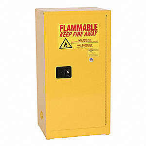 "23"" x 18"" x 44"" Galvanized Steel Flammable Liquid Safety Cabinet with Manual Doors, Yellow"