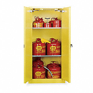 "31-1/4"" x 31-1/4"" x 65"" Galvanized Steel Flammable Liquid Safety Cabinet with Self-Closing Doors, Ye"