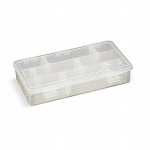 "Adjustable Compartment Box, Translucent, 1-1/2""H x 4-1/8""L x 7""W, 1EA"