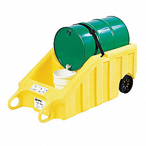 Indoor Dispensing Dolly,Yellow,70 Gal