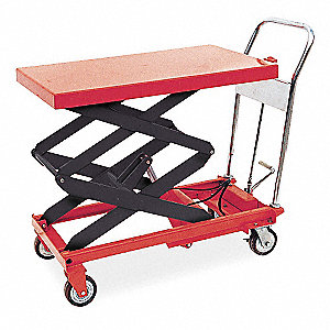 "Scissor Lift Cart, Fixed, 800 lb., Platform Width 20"", Platform Length 35-1/2"", Raised Height 51"""
