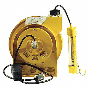 Extension Cord Reel with Hand Lamp, Fluorescent Lamp, Yellow, 50 ft. Cord Length