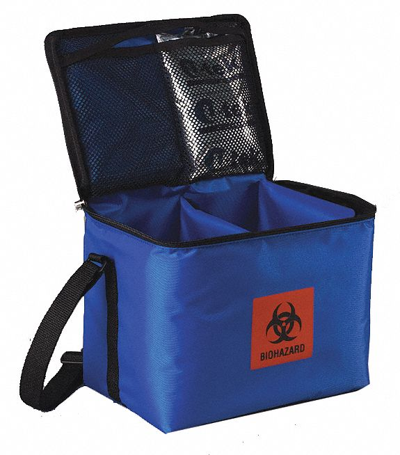 Medical Transporter Tote, 0.3 cu ft, Blue Nylon, Polystyrene Foam