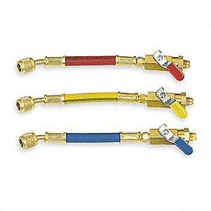 Ball Valve Hose Set,6 In,Red,Yellow,Blue