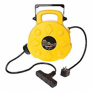 125VAC Commercial Retractable Cord Reel; Number of Outlets: 4, Cord Included: Yes