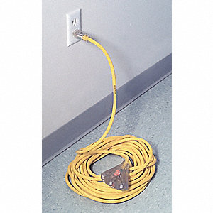 100 ft. Indoor/Outdoor 125V Lighted Extension Cord, 15 Max. Amps, Yellow