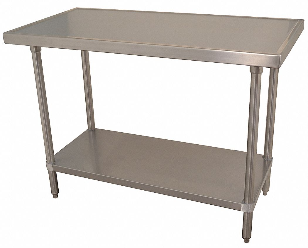 Fixed Height Work Table, Stainless Steel, 30 in Depth, 35 1/2 in Height, 72 in Width,525 lb Load Cap
