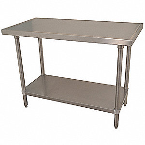 "Fixed Height Work Table, Stainless Steel, 30"" Depth, 35-1/2"" Height, 72"" Width,525 lb. Load Capacity"