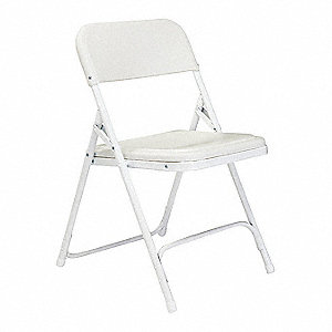 White Steel Folding Chair with White Seat Color, 4PK
