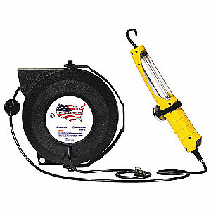 50 ft. Indoor Commercial Extension Cord Reel with Hand Lamp, Black