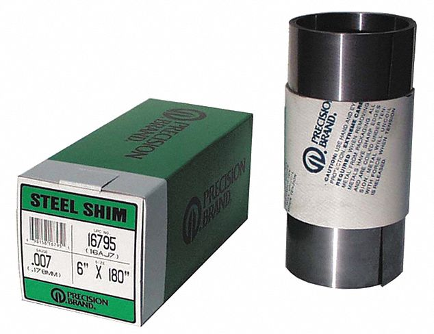 Steel Shim Stock Roll, 1008-1010 Grade, 0.02 in Thickness, +/-0.001 in Thickness Tolerance