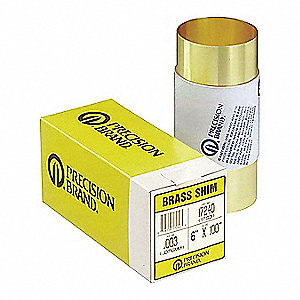 Brass Shim Stock Roll, 260 Grade, 0.004 in Thickness, +/-0.0003 in Thickness Tolerance