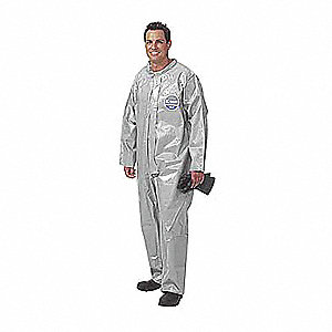 Collared Chemical Resistant Coveralls with Elastic Cuff, Gray, S/M, Zytron® 200