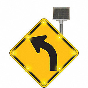 Left Curve Arrow LED Traffic Sign, Yellow LED Color, Power Requirements: Solar