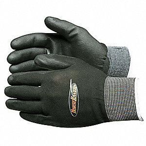 Smooth Polyurethane Coated Gloves, Size M, Black