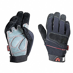 Anti-Vibration Gloves, Leather/Polyester/Nylon Palm Material, Black, 1 PR