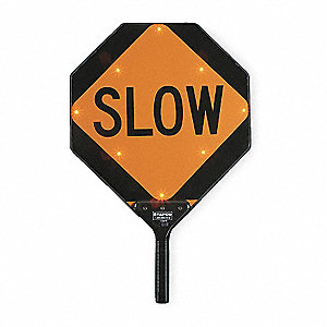 Stop/Slow LED Paddle Sign, Red/Orange LED Color, Power Requirements: (3) AA NiMH Rechargeable Batter