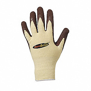 Natural Rubber Latex Cut Resistant Gloves, ANSI/ISEA Cut Level 2, Kevlar® Lining, Tan/Brown, L, PR 1