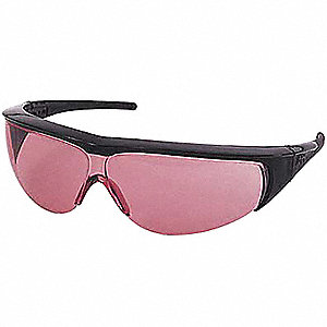 Wraparound Uncoated Laser Safety Glasses with Light Magenta Lenses