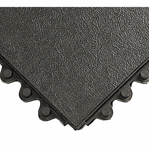 Interlocking Antifatigue Mat, Natural Rubber, Black, 1 EA