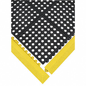 Mat Edging, Nitrile Rubber, Yellow, 1 EA