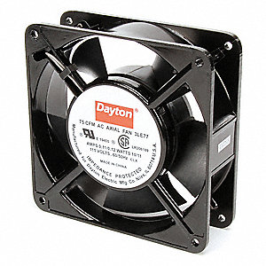 "Square Axial Fan, 4-11/16"" Width, 4-11/16"" Height, 115VAC Voltage"